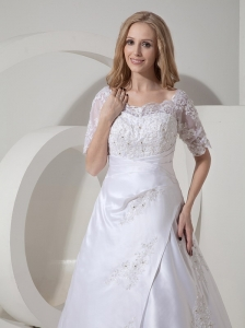 Custom Made A-line Scoop Low Cost Wedding Dress Satin Lace Chapel Train