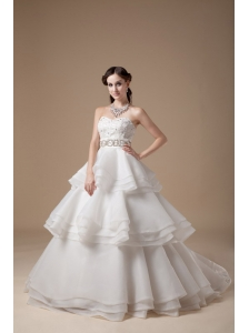 Custom Made A-line Strapless Ball Gown Wedding Dress Taffeta and Organza Appliques With Beading Brush Train