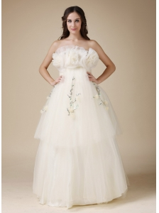Custom Made A-line Strapless Low Cost Wedding Dress  Taffeta and Organza Appliques Hand Made Flowers Floor-length