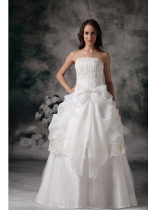 Custom Made A-line Strapless Wedding Dress Organza Appliques Floor-length