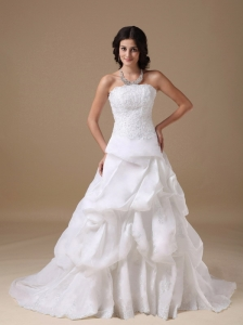 Custom Made A-line Strapless Wedding Dress Taffeta Lace Court Train