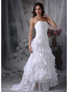 Custom Made A-line Sweetheart Wedding Dress Organza Appliques Court Train