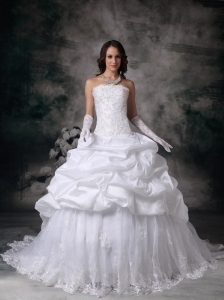 Custom Made Ball Gown Wedding Dress Lace Brush Train Pich-ups