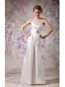 Custom Made Column Strapless Wedding Dress Taffeta Beading Floor-length