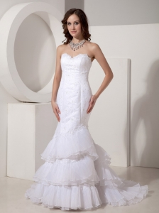 Custom Made Mermaid / Trumpet Organza Sweetheart Wedding Dress Brush / Sweep Train