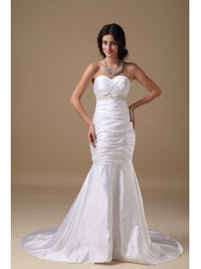 Custom Made Mermaid Sweetheart Low Cost Wedding Dress Taffeta Beading Court Train