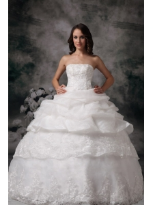 Custom Made Straplesss Ball Gown Wedding Dress Lace Pick-up Floor-length