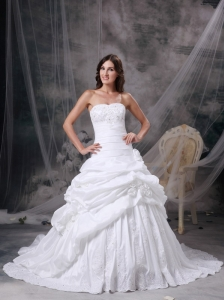 Custom Made White A-line Strapless Wedding Dress Taffeta Appliques and Hand Made Flowers Court Train