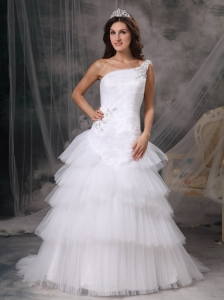 Customize A-line One Shoulder Wedding Dress Tulle Beading Court Train