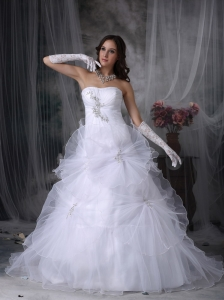 Customize A-line Strapless Wedding Dress Organza Beading and Hand Made Flowers Court Train