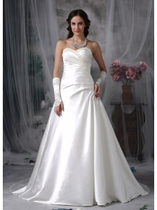 Customize A-line Sweetheart Wedding Dress Satin Beading Court Train