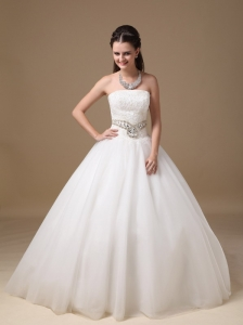 Customize Ball Gown Wedding Dress Strapless Taffeta and Tulle Beading and Lace Floor-length
