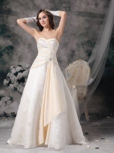 Customize Champagne A-line Sweetheart Wedding Dress Satin Beading Brush Train