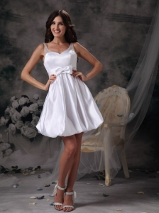Customize Column Straps Short Wedding Dress Taffeta Bow Mini-length