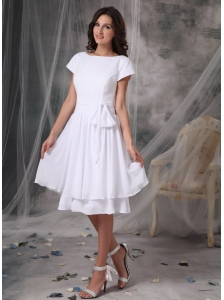 Customize Empire Bateau Short Wedding Dress Chiffon Knee-length