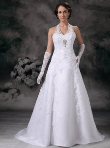 Discount A-line Halter Wedding Dress Lace Beading Court Train