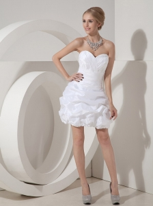 Elegant Column Sweetheart Short Wedding Dress Taffeta Ruch Mini-length