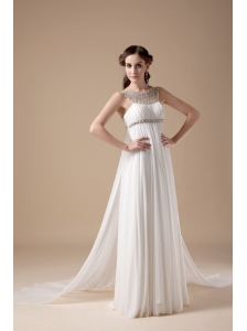 Elegant Empire Bateau Wedding Dress Chiffon Beading Brush Train