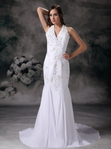Elegant Mermaid Halter Wedding Dress Chiffon Embroidery With Beading Court Train