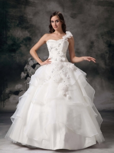 Elegant One Shoulder Ball Gown Wedding Dress Organza Appliques Floor-length