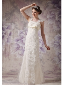 Exquisite Column Straps Lace Wedding Dress Bow Floor-length