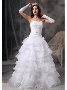 Fashionable A-Line / Princess Sweetheart Wedding Dress Organza Ruffles Floor-length