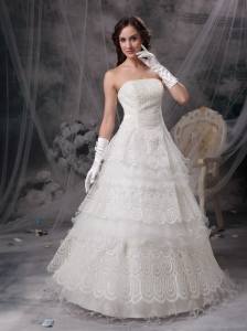 Fashionable Wedding Dress A-line Strapless Satin and Lace Floor-length