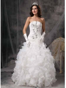 Gorgeous A-line Strapless Wedding DressOrganza Beading Floor-length