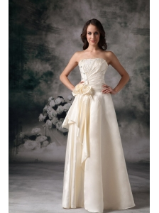 Light Yellow Empire Strapless Wedding Dress Taffeta Beading Floor-length