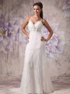 Low Price Column / Sheath Spaghetti Straps Low Cost Wedding Dress Lace Beading Brush Train