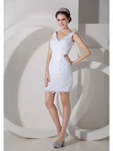 Low Price Column V-neck Short Wedding Dress Satin Lace Mini-length