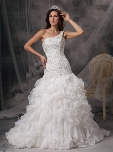 Luxurious A-line One Shoulder Wedding Dress Organza and Lace Beading Court Train