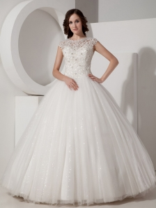 Luxurious Ball Gown High-neck Wedding Dress Sequined and Lace Floor-length
