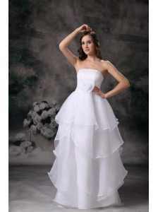 Modest A-line Strapless Low Cost Wedding Dress Organza Hand Made Flower Floor-length