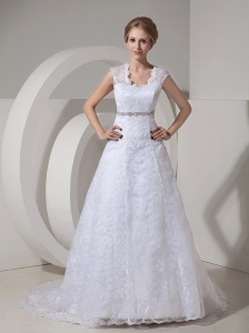 Modest A-line Straps Lace Wedding Dress Beading Court Train