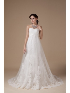 Popular A-line Wedding Dress Tulle Lace Brush Train