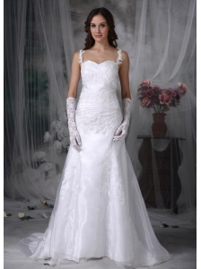 Sweet A-line Straps Wedding Dress Organza Appliques and Ruch Brush Train