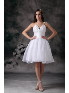 White A-line Halter Short Wedding Dress Organza Ruch Mini-length