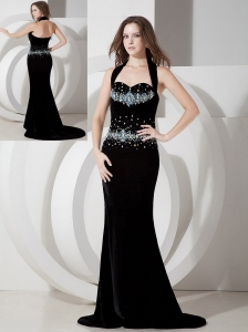 Affordable Black Mermaid Halter Evening Dress Silk Like Satin Beading Brush Train