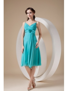 Customize Turquoise Cocktail Dress Column / Sheath Spaghetti Straps Knee-length Chiffon Bow
