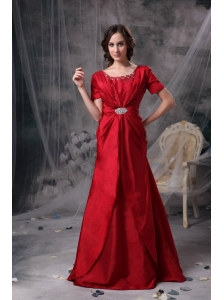 Customize Wine Red Mother Of The Bride Dress A-line Scoop Taffeta Beading and Ruch Brush Train