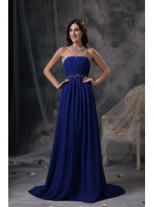 Discount Royal Blue Empire Evening Dress Strapless Chiffon Beading and Ruch Brush Train
