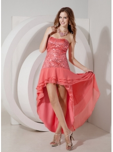 Discount Watermelon Cocktail Dress Red Empire Strapless High-low Chiffon and Sequin