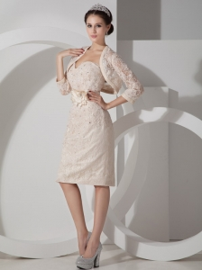 Elegant Champagne Mother of the Bride Dress Column Sweetheart Satin Belt and Appliques Knee-length