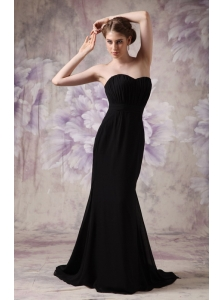 Modest Black Cheap Bridesmaid Dress Column Sweetheart Brush Train Chiffon Ruch