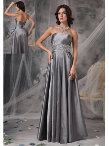 Modest Dark Silver Mother of the Bride Dress A-line Strapless Taffeta Beading Floor-length