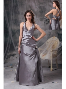 Modest Grey A-line Mother of the Bride Dress V-neck Satin Beading and Ruch Floor-length