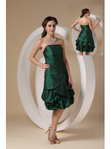 New Dark Green Column Cocktail Dress Strapless Taffeta Beading Knee-length