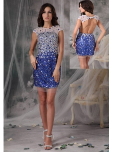 Peacock Blue Column / Sheath Evening Dress Scoop Tulle Beading Mini-length