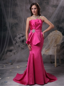 Pretty Hot Pink Mermaid Evening Dress Strapless Satin Beading and Ruch Brush Train